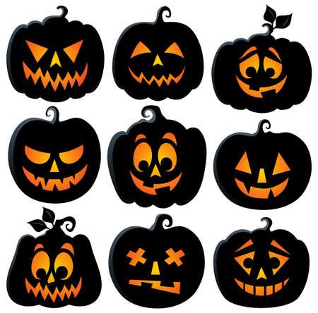 pumpkin face: Pumpkin silhouettes theme set 2