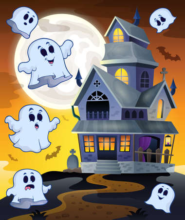 ghost house: Ghosts flying around haunted house  Illustration