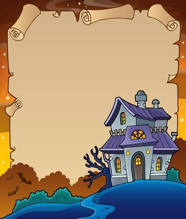 haunted: Parchment with haunted house thematics 4
