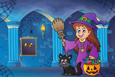 castle: Cute witch and cat in haunted castle - eps10 vector illustration.