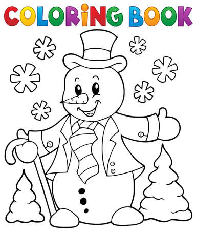 Coloring sheet of snowman