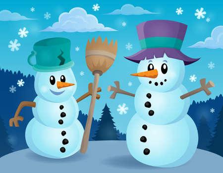 snowman: Winter snowman Illustration
