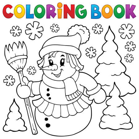 coloring sheet: Coloring sheet of snow woman