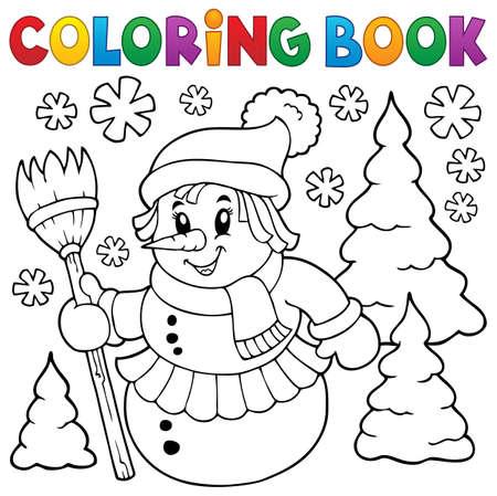 Libro Para Colorear Muñeco De Nieve Ilustraciones Vectoriales, Clip ...