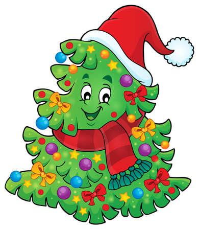 neckscarf: Tree with Christmas hat Illustration