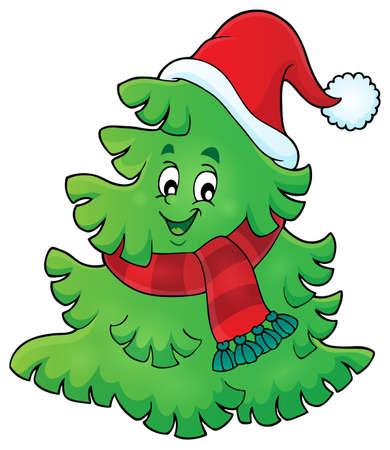 Rbol con sombrero de Navidad Foto de archivo - 44841918