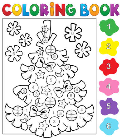 topic: Coloring book Christmas tree topic 4   Illustration