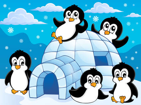 igloo: Igloo with penguins theme 1