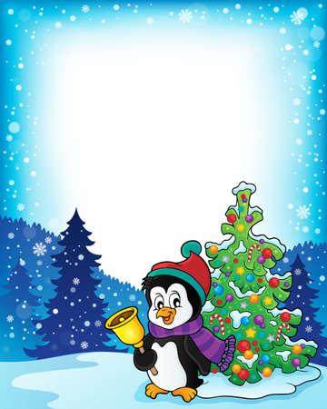 pinguinos navidenos: Frame with penguin and Christmas tree