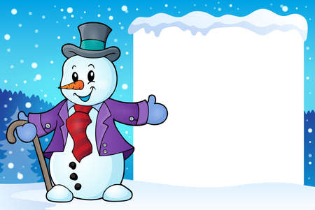 topic: Frame with snowman topic 2   Illustration