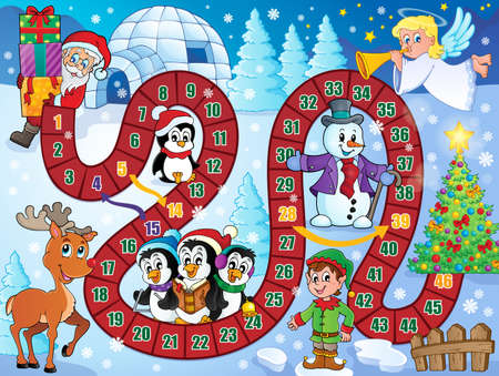 boards: Board game image with Christmas theme 1   Illustration