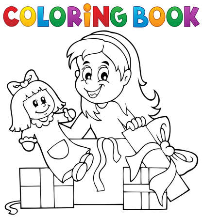 unpacking: Coloring book girl with doll and gifts