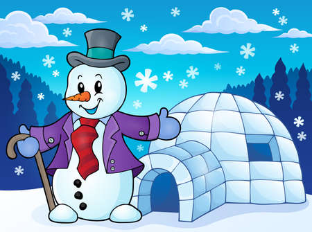 igloo: Igloo with snowman theme 1