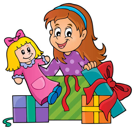 unpacking: Girl with doll and gifts theme 1   Illustration