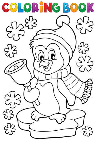Coloring book Christmas penguin topic 1   Stock Illustratie
