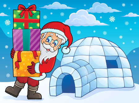 igloo: Igloo with Santa Claus theme 1  Illustration