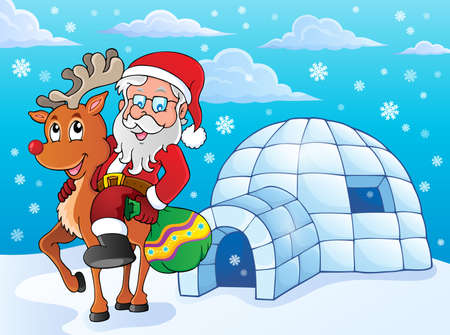 igloo: Igloo with Santa Claus theme 2   Illustration