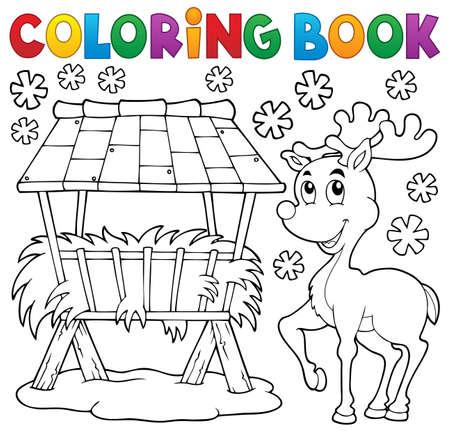 rack: Coloring book hay rack and reindeer   Illustration