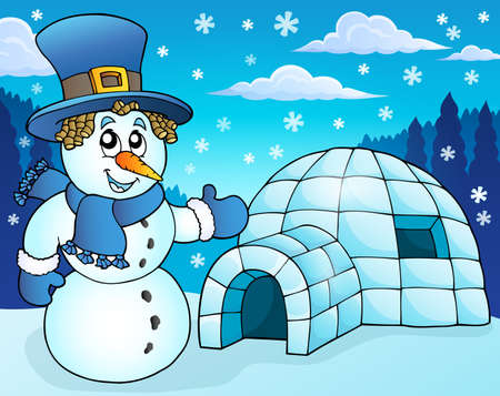 igloo: Igloo with snowman theme
