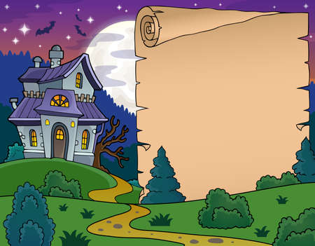 haunted: Parchment with haunted house thematics  Illustration