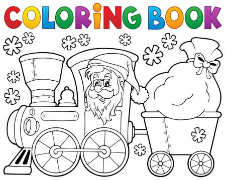 Coloring book Christmas train   Vectores