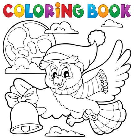 libros volando: Libro para colorear búho Navidad