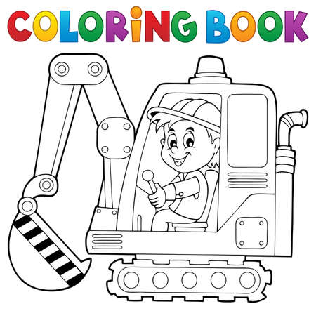 industrial drawing: Coloring book excavator operator theme 1 -   vector illustration.