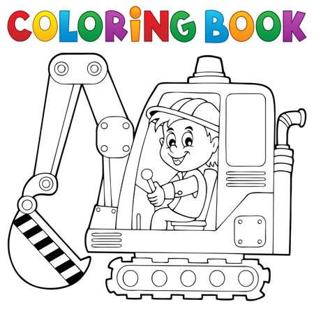 Farbowanie operator koparki książki temat 1 - ilustracji wektorowych.