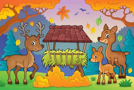 feeder: Deer theme image 3 -   vector illustration.