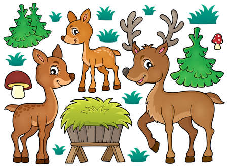 toadstool: Deer theme collection 1 -   vector illustration.