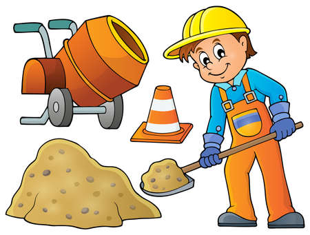 Industrial workers: Construction worker theme image 5 -   vector illustration.