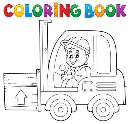 lift truck: Libro para colorear ascensor tenedor cami�n tema 1 - ilustraci�n vectorial.
