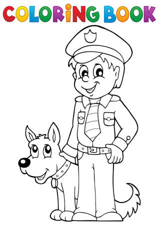Coloring book policeman with guard dog -   vector illustration.