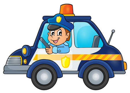 Police car theme image 1 - Vektor-Illustration. Standard-Bild - 46608960