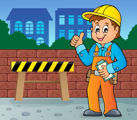 occupations: Construction worker theme image 4 -   vector illustration. Illustration