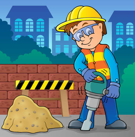 drill: Construction worker theme image 8 -   vector illustration. Illustration