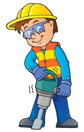 obrero trabajando: Imagen del tema del trabajador de construcción 7 - ilustración vectorial.