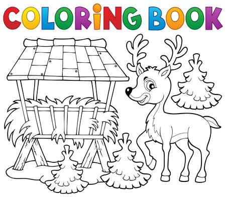 fodder: Coloring book deer theme 2 -   vector illustration.