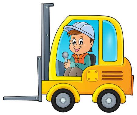 machine operator: Fork lift truck theme image 2 -   vector illustration.