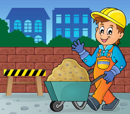 Industrial workers: Construction worker theme image 2 -   vector illustration.