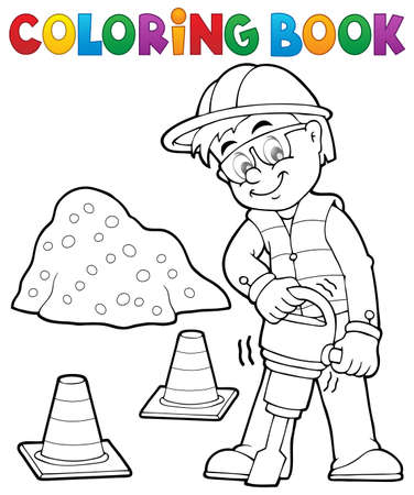 drill: Coloring book construction worker 3 -   vector illustration. Illustration