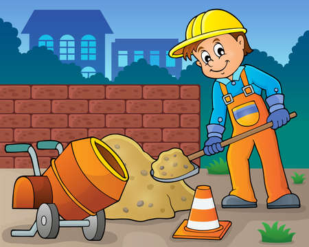 cone: Construction worker theme image 6 -   vector illustration.