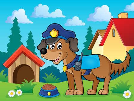 police radio: Police dog theme image 2 -   vector illustration.