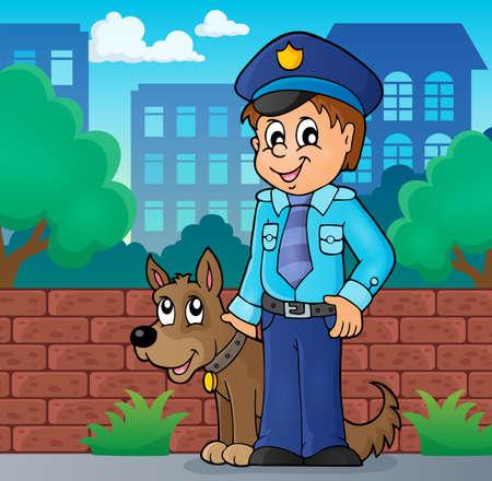 guarding: Policeman with guard dog image 2 -   vector illustration. Illustration