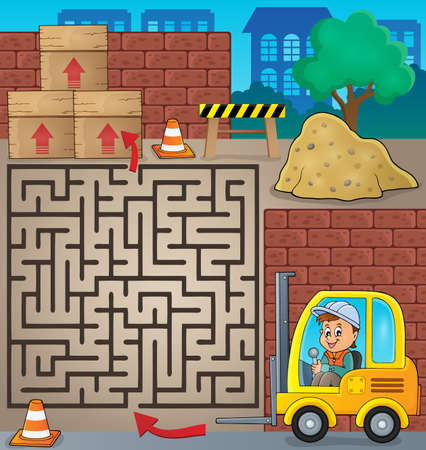 lift truck: Maze 3 with fork lift truck theme -   vector illustration.