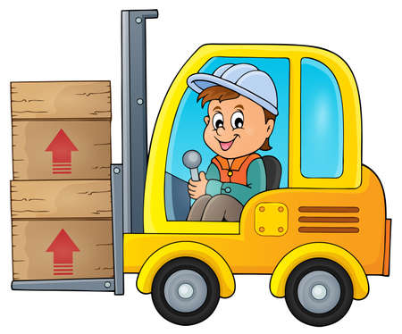 drawing safety: Fork lift truck theme image 1 -   vector illustration. Illustration