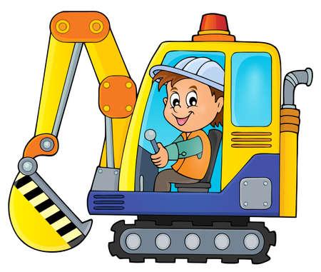machine operator: Excavator operator theme image 1 - vector illustration. Illustration