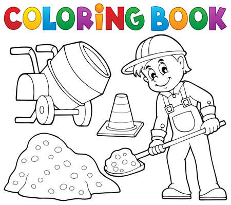 concrete mixer: Coloring book construction worker 2 -   vector illustration.