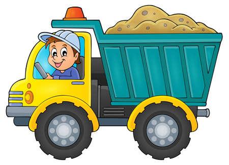driver: Sand truck theme image 1 -   vector illustration. Illustration
