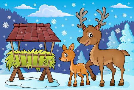 fodder: Deer theme image 4 -   vector illustration.